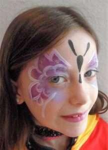 Kinderschminken Schminkvorlage für einen tollen Schmetterling