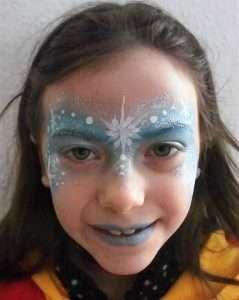 Eiskönigin Schminkvorlage für Kinderschminken