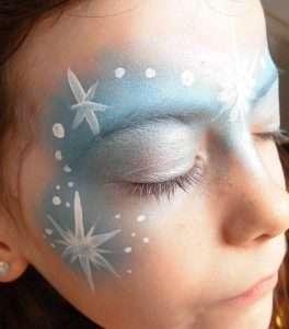 Eiskönigin Schminkvorlage zum Kinderschminken: Details schminken